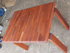 REFINISHED Danish MCM SOLID Teak side or small coffee table, floating look,  PERFECT - Mid Century Modern Toronto