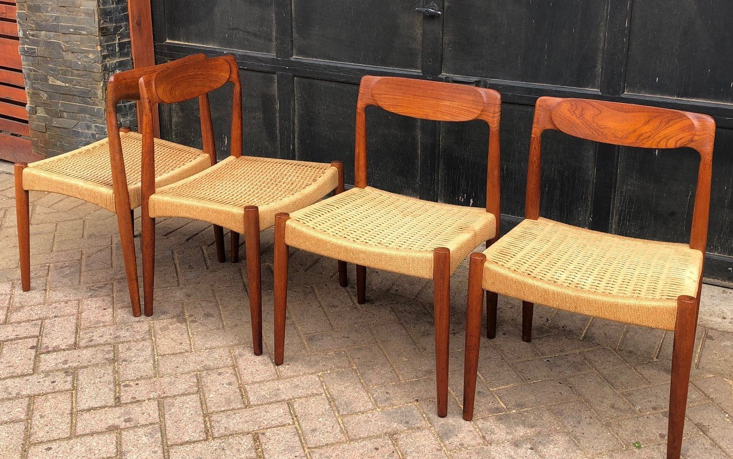 Miraculous 4 Danish Mcm Sculpted Teak And Cord Chairs Each 399 Download Free Architecture Designs Griteanizatbritishbridgeorg
