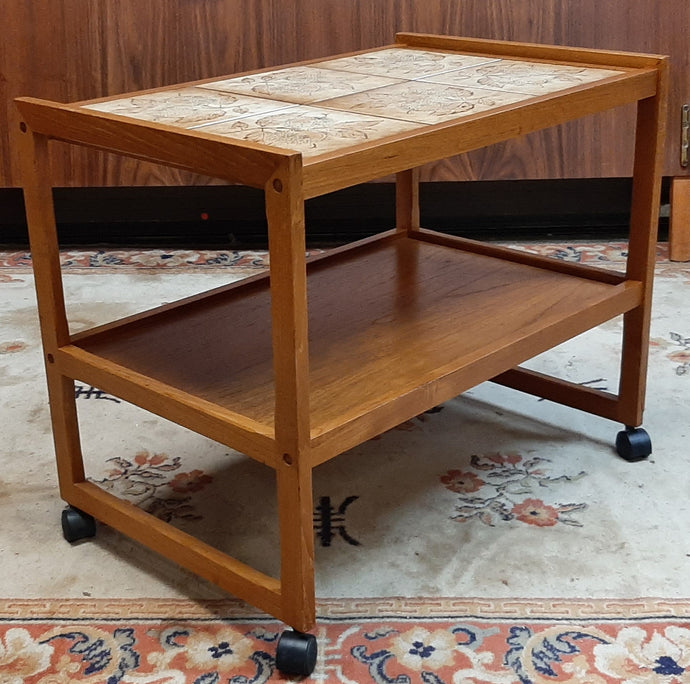 Restored Danish MCM teak bar cart with tile top, perfect - Mid Century Modern Toronto