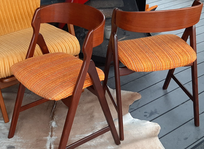 2 Danish MCM Teak Chairs by TH Harlev REFINISHED, PERFECT, each $399 - Mid Century Modern Toronto