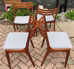 4 MCM Teak Chairs by Kai Kristiansen for KS REFINISHED REUPHOLSTERED l.grey wool, each $375, PERFECT - Mid Century Modern Toronto