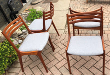 Load image into Gallery viewer, 4 MCM Teak Chairs by Kai Kristiansen for KS REFINISHED REUPHOLSTERED l.grey wool, each $375, PERFECT - Mid Century Modern Toronto