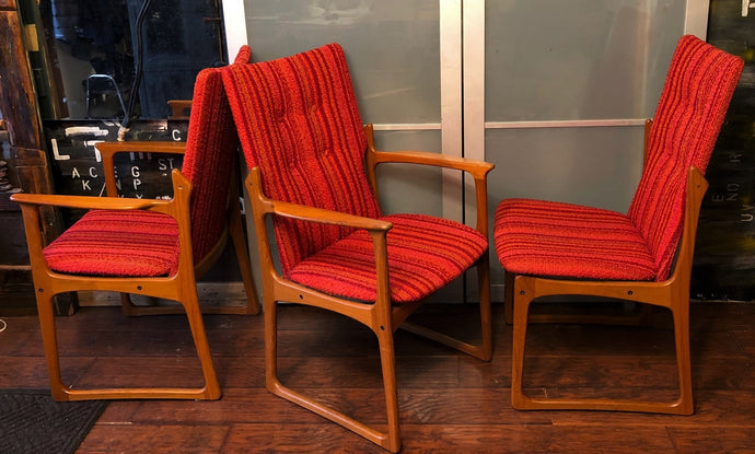 6 Danish MCM Solid Teak Dining Chairs RESTORED , each $175