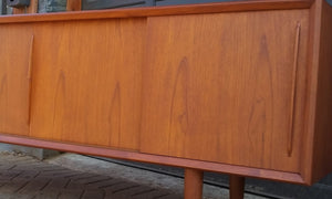 "REFINISHED Danish MCM Teak Credenza Sideboard Bow Front by H.P. Hansen, 79"" - Mid Century Modern Toronto"