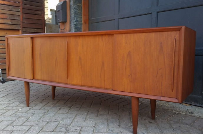 Coming soon **REFINISHED Danish MCM Teak Credenza Sideboard Bow Front by H.P. Hansen, 79