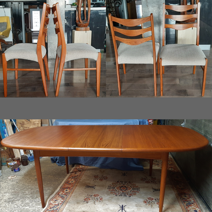 REFINISHED Danish MCM Teak Table Oval w 2 leaves 63
