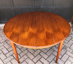 "REFINISHED Danish MCM Teak Table Round to Oval w 3 Leaves by DYRLUND, PERFECT - 47-107"", treated for durability - Mid Century Modern Toronto"