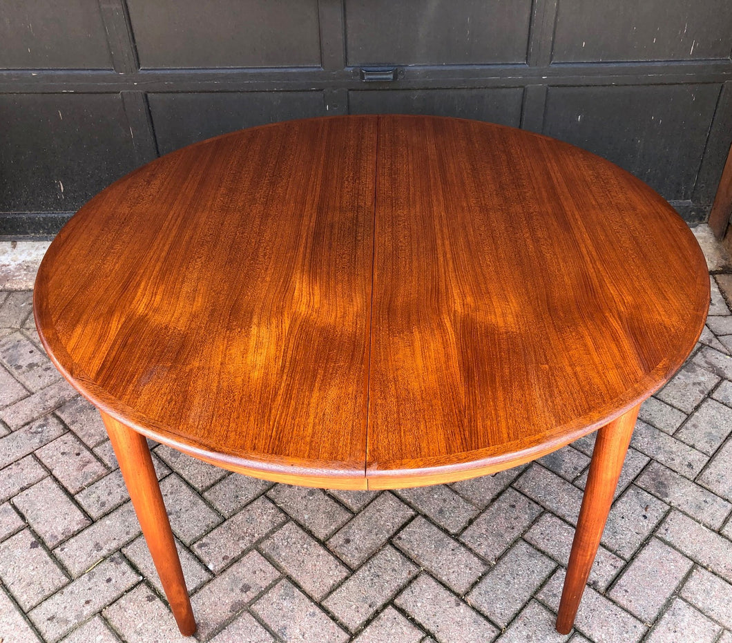 REFINISHED Danish MCM Teak Table Round to Oval w 3 Leaves by DYRLUND, PERFECT - 47-107