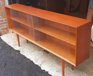 "REFINISHED Danish Modern Teak Bookcase Display w sliding glass doors 71""narrow,  PERFECT - Mid Century Modern Toronto"