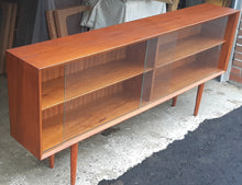 "Load image into Gallery viewer, REFINISHED Danish Modern Teak Bookcase Display w sliding glass doors 71""narrow,  PERFECT - Mid Century Modern Toronto"