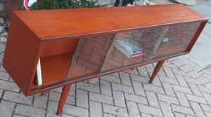 "REFINISHED MCM Teak Bookcase Display w 4 sliding glass doors 72"",  PERFECT - Mid Century Modern Toronto"