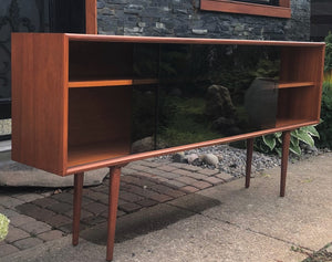 "REFINISHED Danish Modern Teak Bookcase Display 71"" with tinted glass doors PERFECT - Mid Century Modern Toronto"