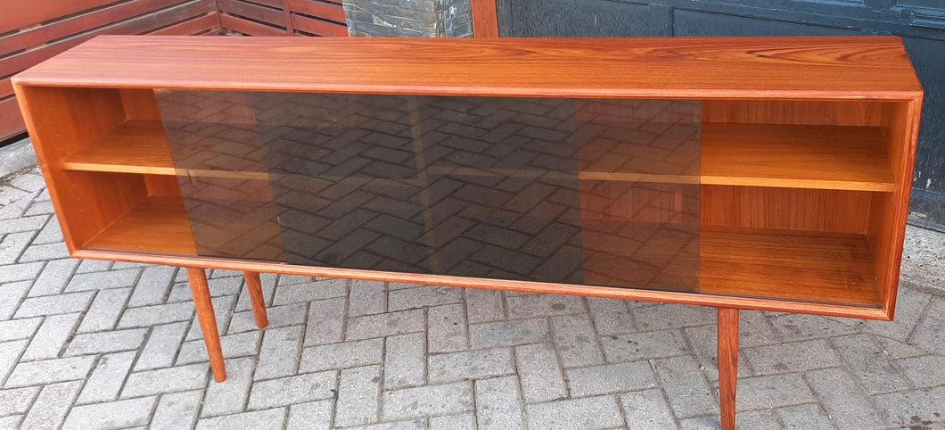 REFINISHED Danish Modern Teak Bookcase Display w tinted glass doors 71