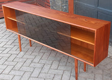 "Load image into Gallery viewer, REFINISHED Danish Modern Teak Bookcase Display w tinted glass doors 71"" PERFECT - Mid Century Modern Toronto"