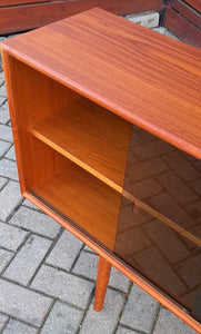 "REFINISHED Danish Modern Teak Bookcase Display w tinted glass doors 71"" PERFECT - Mid Century Modern Toronto"