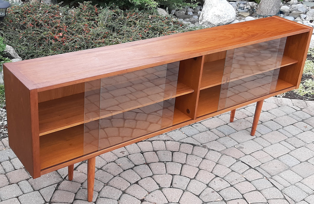 REFINISHED Danish Modern Teak Bookcase Display w sliding glass doors 79