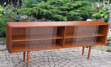 "Load image into Gallery viewer, REFINISHED Danish Modern Teak Bookcase Display w sliding glass doors 79"" PERFECT - Mid Century Modern Toronto"