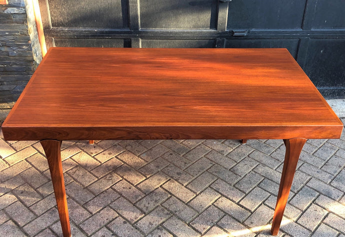 REFINISHED Danish MCM Teak Dining Table Extendable w 2 Leaves by Johannes Andersen PERFECT - 59-98