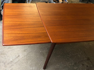 "ON HOLD for Nancy K. REFINISHED Compact Danish MCM Teak Draw Leaf Table 48""-84"" PERFECT, treated for durability - Mid Century Modern Toronto"