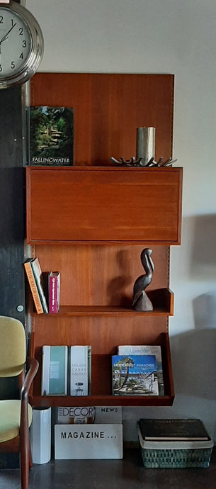 ON HOLD for J. ***Restored Danish MCM teak modular wall unit with storage and display, PERFECT, CADO style