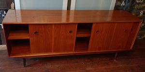 REFINISHED Danish MCM Teak Sideboard TV Media Console 6 ft, perfect - Mid Century Modern Toronto