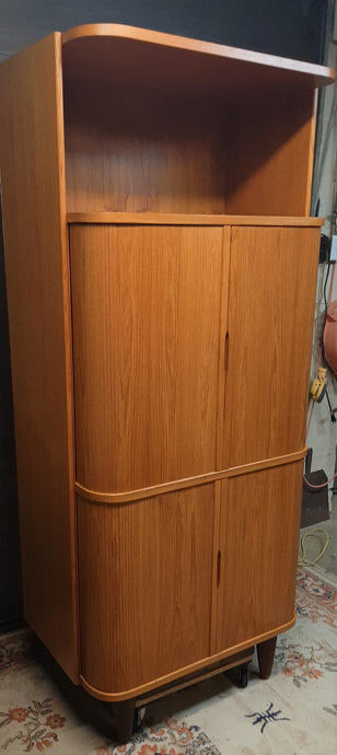 Restored Danish MCM Teak Tall Cabinet w Tambour Doors / Roll-Front, perfect - Mid Century Modern Toronto