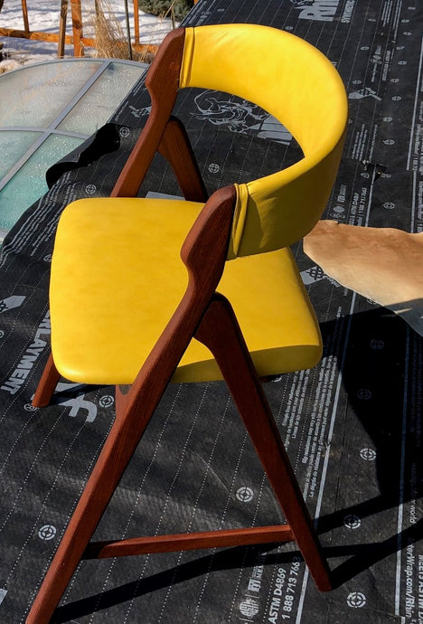2 Danish MCM Teak Chairs by TH Harlev REFINISHED REUPHOLSTERED in yellow leather, each $449 - Mid Century Modern Toronto