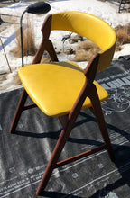 Load image into Gallery viewer, 2 Danish MCM Teak Chairs by TH Harlev REFINISHED REUPHOLSTERED in yellow leather, each $449 - Mid Century Modern Toronto