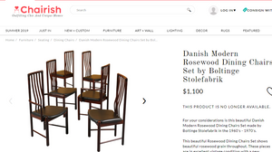 SUPER SALE 6 Danish MCM Rosewood Chairs (2 arm, 4 side) by Boltinge Stolefabric  in great condition, each $33 - Mid Century Modern Toronto