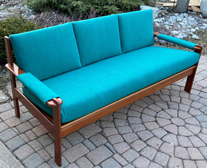 REFINISHED REUPHOLSTERED MCM Teak Sofa and 3 Armchairs