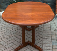 "Load image into Gallery viewer, REFINISHED MCM Teak Table Round w 1 Leaf 41.5""-63"", perfect"