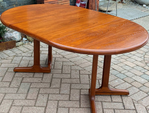 "REFINISHED MCM Teak Table Round w 1 Leaf 41.5""-63"", perfect"