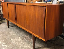 "Load image into Gallery viewer, REFINISHED Mid-Century Modern Teak Sideboard w 4 sliding doors 77"" Narrow - Mid Century Modern Toronto"