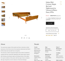 Load image into Gallery viewer, REFINISHED  Italian MCM Bed w floating nightstands Double