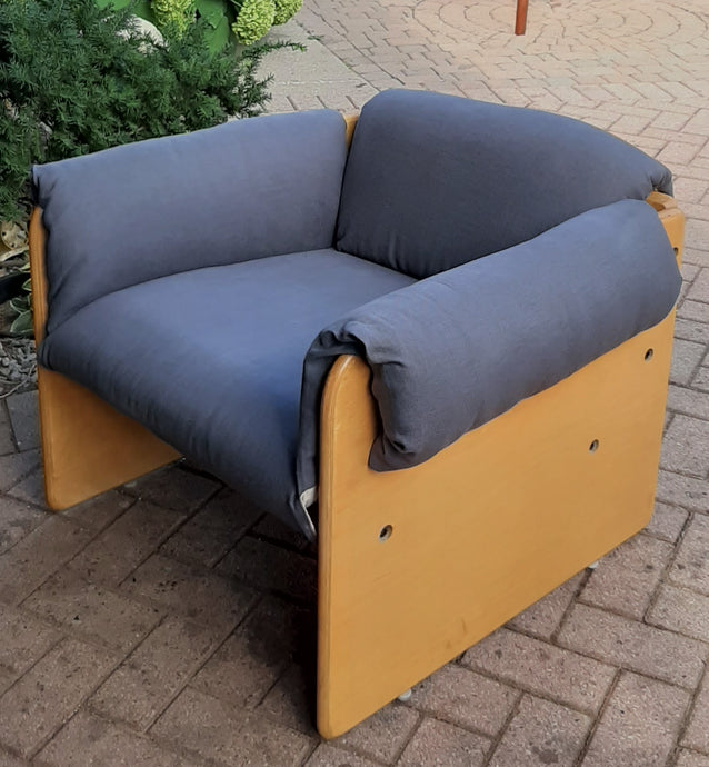 Restored MCM Lounge Armchair in grey linen by J.Diamond