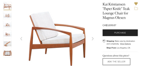 "REFINISHED ""Paper Knife"" Danish MCM Teak Sofa, 2 Lounge Chairs & Ottoman by Kai Kristiansen"