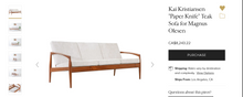 "Load image into Gallery viewer, REFINISHED ""Paper Knife"" Danish MCM Teak Sofa, 2 Lounge Chairs & Ottoman by Kai Kristiansen"