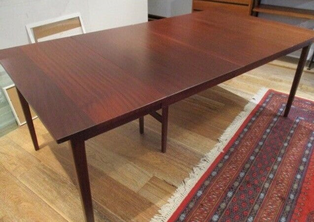 REFINISHED MCM Solid Teak Dining Table w 3 leaves  36