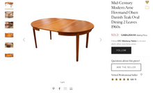 "Load image into Gallery viewer, REFINISHED Danish MCM Teak Dining Table w 2 Leaves by A.H.Olsen, PERFECT, 64"" - 103"""