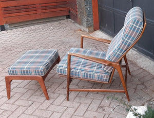 Will be REFINISHED & REUPHOLSTERED Danish MCM Walnut Lounge Armchair Recliner & Ottoman by IB Kofod Larsen for Selig