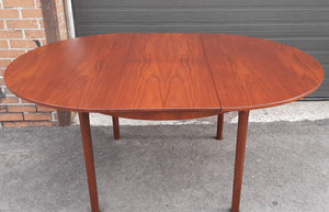 "REFINISHED MCM Teak Table Round to Oval w Butterfly Leaf by McIntosh 48""-66"""