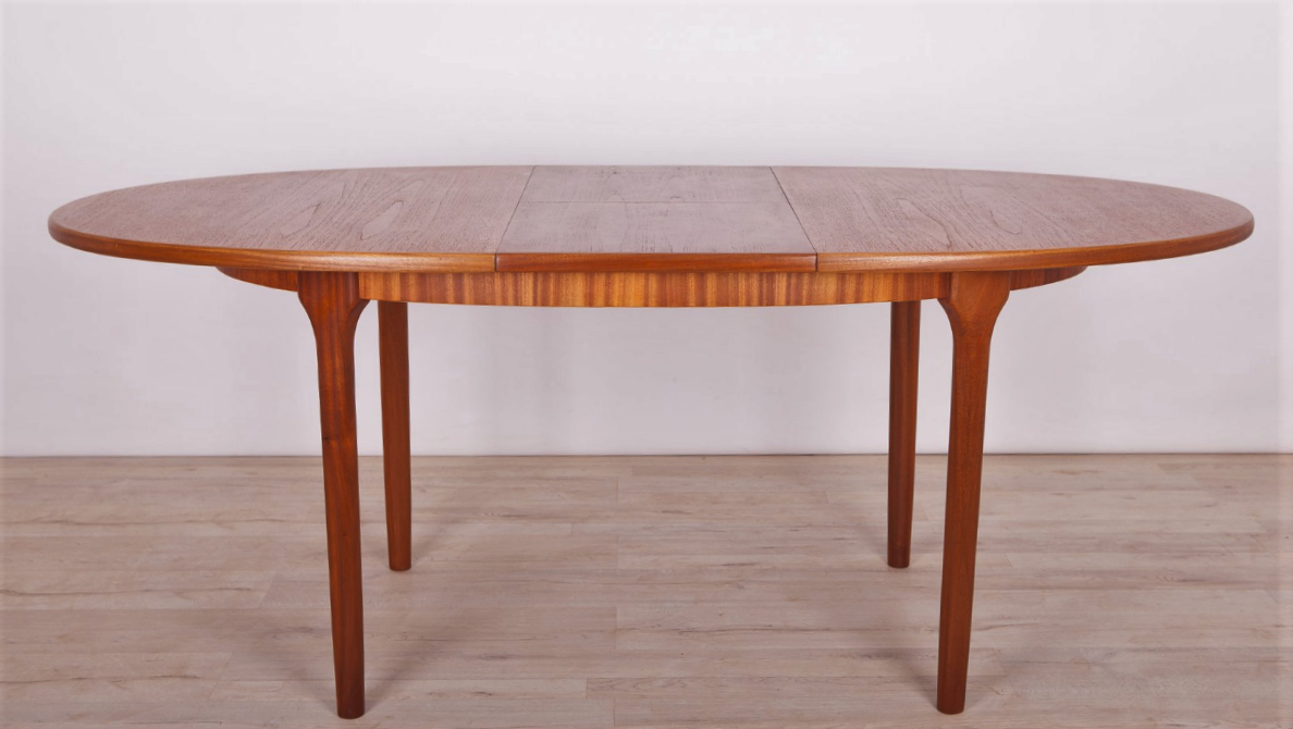 REFINISHED MCM Teak Table Round to Oval w Butterfly Leaf by McIntosh 48