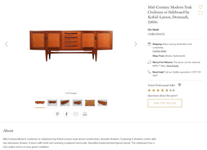 "REFINISHED Danish MCM Teak Credenza Sideboard by Kofod-Larsen, almost perfect, 84"" - Mid Century Modern Toronto"