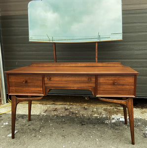 REFINISHED British MCM Vanity & Mirror or Desk by Alfred Cox, Perfect, Compact