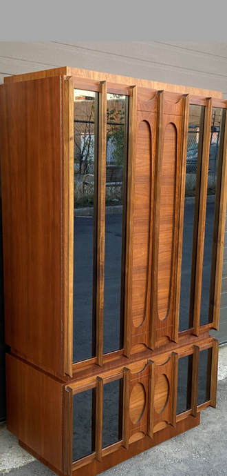 RESTORED Rare MCM Teak & Walnut Mirrored Brutalist Armoire High Credenza