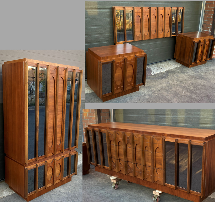 RESTORED Rare MCM Teak & Walnut Mirrored Brutalist Bedroom SET