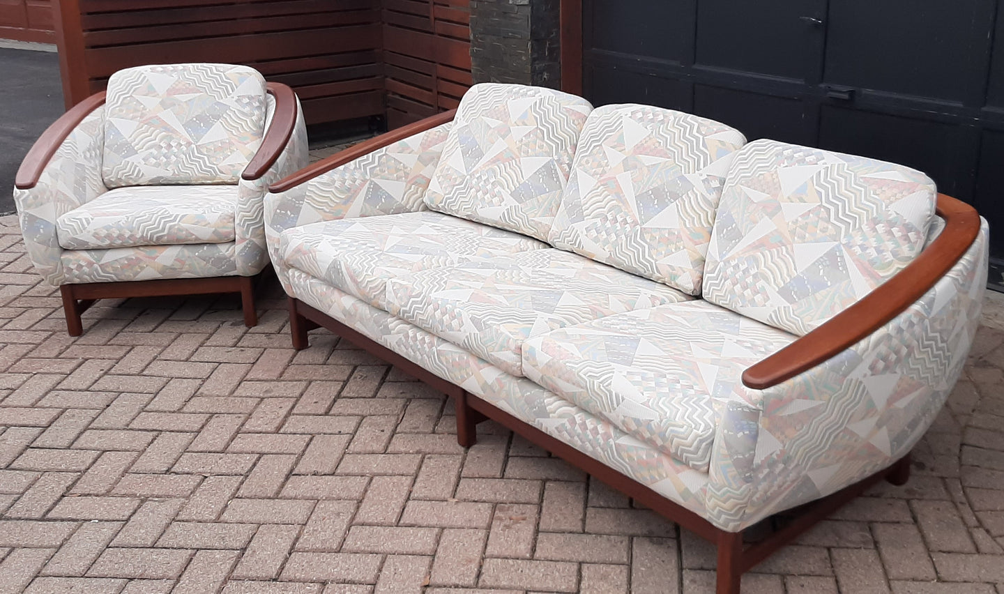 REFINISHED MCM Huber Barrel Back Teak Sofa and Lounge Chair- Mint (plus bonus armchair)