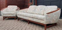 Load image into Gallery viewer, REFINISHED MCM Huber Barrel Back Teak Sofa and Lounge Chair- Mint (plus bonus armchair)