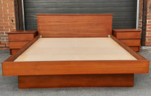 Load image into Gallery viewer, REFINISHED MCM Teak Bed Queen with 2 separate night stands by Mobican, PERFECT