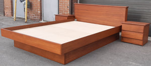 REFINISHED MCM Teak Bed Queen with 2 separate night stands by Mobican, PERFECT